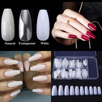 100 PCS + 1 Box Nail Tips Ballerina Nails French Acrylic False Nail Art Tips Coffin Shape Artificial Full False Nails with Box