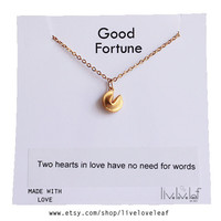 Cute Fortune Cookie Pendant Necklace with a Fortune message Gold filled chain Lucky, good luck charm, jewelry gift idea, stocking stuffer