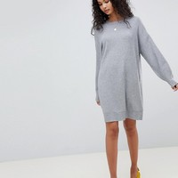 ASOS DESIGN Knitted Dress With Balloon Sleeve at asos.com