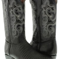 Men's New Black Exotic Lizard Design Genuine Leather Cowboy Boots Rodeo J Toe