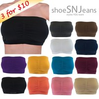3 FOR $10 Basic Sports Yoga Crop Straless Padded Bandeau Bra Tube Top Active USA