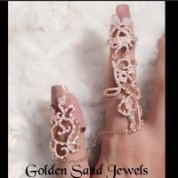 Royalty 2 finger rose gold plated ring from Golden Sand Jewels
