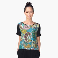 'Paisley on Blue' Women's Chiffon Top by Rosie Brown