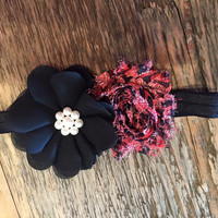 Baby Headband Black & Pink Double Flower with Black Band