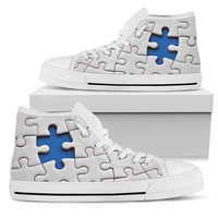 Mens' High Top Sneaker Canvas Athletic Shoe Blue Autism Awareness