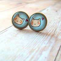 M E O W - White Blushing Cat Kitty Love Heart and Turquoise Teal Blue Photo Glass Cab Circle Bronze Post Earrings