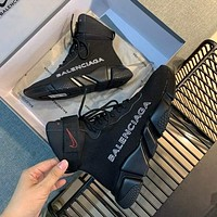 Nike x Balenciaga knitted mid-cut socks lace-up all-match jogging shoes