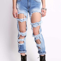 Open Gapes Straight Jeans