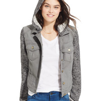 Tinseltown Juniors' Hoodie Denim Jacket