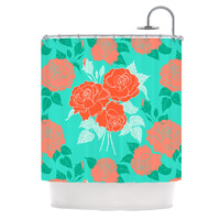"Anneline Sophia ""Summer Rose Orange"" Teal Green Shower Curtain"