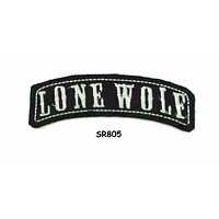 Lone Wolf White on Black Small Rocker Patch Front for Biker Jacket Vest