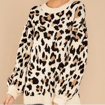 Women's hot style hot sale fashion loose leopard print all-match sweater