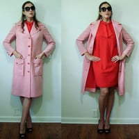 Vintage ULTRA MOD 1960's Twiggy Red & White Coat Dress Butte Knit Iconic Small