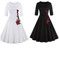 Retro Inspired Side Embroidered Dresses, Sizes Small - 4XLarge