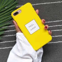 Funny Cartoon Letters FEEL GOOD Phone Cases For iphone 6 case Slim Cute Candy Color Hard Cover Coque For iphone 6s 7Plus 5s Capa