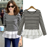 Striped Long-Sleeve Chiffon Peplum Shirt