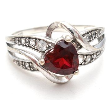 Red Heart CZ Ring Size 9.5 Sterling Silver