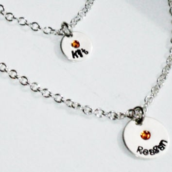 """American Girl Hand Stamped Personalized Charm Necklace SET for Child & her American Girl Doll, or 18"""" doll"""