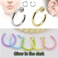 2 pieces Fake Spring Action Glow in the Dark Non Piercing Ring Septum Nose Lip Hoop Rings Earrings Ear Cartilage Body Jewelry