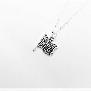 American flag necklace, patriotic necklace, bff necklace, best friend necklace, USA flag charm necklace personalized gift for her friendship
