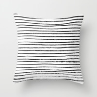 Black Brush Lines on White Throw Pillow by LacyDermy