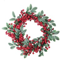 """18"""" Artificial Lush Red Berry and Deep Green Leaf Decorative Christmas Wreath - Unlit"""