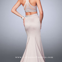 Long Two Piece Prom Dress with a Beaded Waist