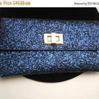 ON SALE Vintage Blue Purse Sparkly Glitter 1960''s Collectible Clutch Mad Men Mod Hollywood Regency Mid Century Handbag