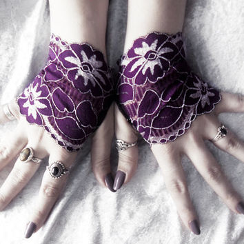 Astryd Lace Fingerless Gloves - Micro Mittens - Royal Purple & Silver White Floral - Wedding Gothic Lolita Bridal Eggplant Bridesmaid Prom