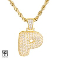 """Jewelry Kay style P Initial Custom Bubble Letter Gold Plated Iced CZ Pendant 24"""" Chain Necklace"""