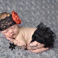 Annabelle black red lace Diaper Cover Bloomer Set black lace wide ranunculus flower Headband newborn baby girl photography christmas gift