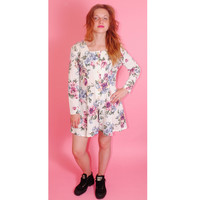 Vintage 1990s White pink Floral GRUNGE long sleeve Button Down Babydoll romper jumpsuit jumper one piece Onesuit shorts mini Dress