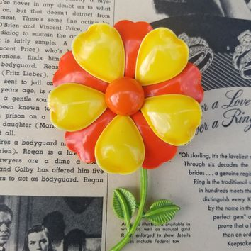 Yellow and orange bright tin enamel flower with green stem and leaves vintage brooch