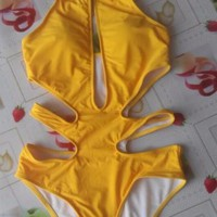 Solid Hollow Out Sexy High Neck One Piece Swimsuit Women Strappy Yellow Swimswear Cut Out Monokini Bandeau Backless Bathing Suit -03128