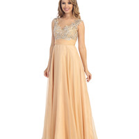 2014 Prom Dresses - Champagne Chiffon & Beaded Filigree Gown