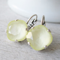 Yellow Bridesmaid Earrings, Pale Yellow Wedding Jewelry, Lever backs, Antique Silver, Summer Wedding, Bridal Earrings, Swarovski Elements