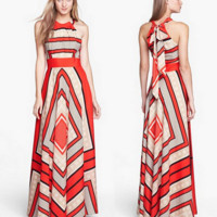 HOT STRIPE LONG DRESS