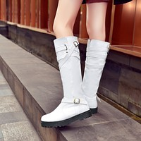 Buckle Over the Knee Boots PU Leather Shoes Woman