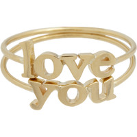 "Jennifer Meyer Gold ""Love You"" Ring Set at Barneys.com"