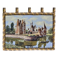 Tache Tapestry Victorian Summertime Manor Landscape Woven Wall Hanging (3562HL2)