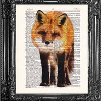 RED FOX- Dictionary Print-Home Wall Decor-Upcycled Antique Book Page-Print On Dictionary Book Page-Upcycled Book Page art print gift