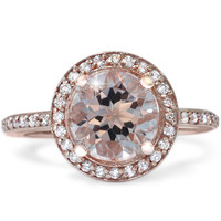 2.40CT Morganite & Diamond Halo Rose Gold Engagement Ring 14 Karat size 4-9