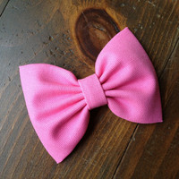 Gorgeous hot pink hair bow. Bright and colorful neon hot pink for summer