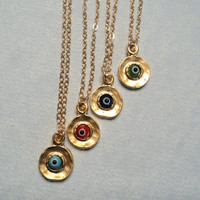 Evil Eye glass and gold charm necklace.  Gold fill chain.  Pick Your Protection.  NEW ITEM.