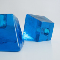 Mid Century Sapphire Blue Glass Candle Holders Konst Glashyttan Urshult Sweden/ Scandinavian design