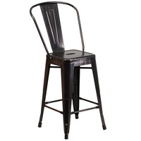 Flash Furniture 24'' High Black-Antique Gold Metal Indoor-Outdoor Counter Height Stool [CH-31320-24GB-BQ-GG]