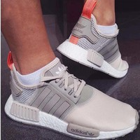 Women Adidas NMD Boost Casual Sports Shoes Beige