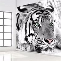photo wallpaper Tiger black and white animal murals entrance bedroom living room sofa TV background wall mural wall paper