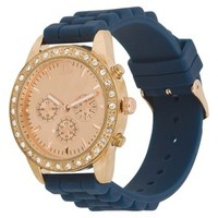 Women's Xhilaration® Rose Gold Colored Case with Rhinestones Watch - Navy