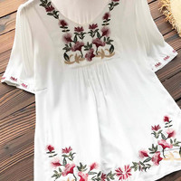 Cupshe Relaxing Day Petunia Embroidery Top